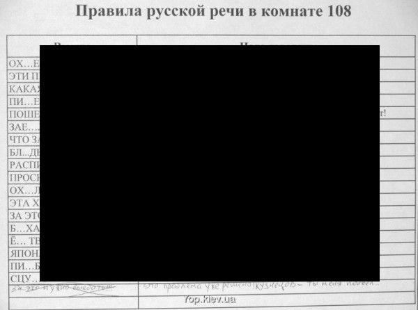 Правила русской речи комнаты 108 :)