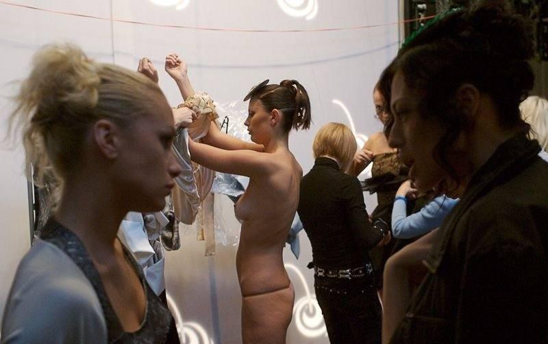 Fiona Gordon Assisting Amateur Models Backstage