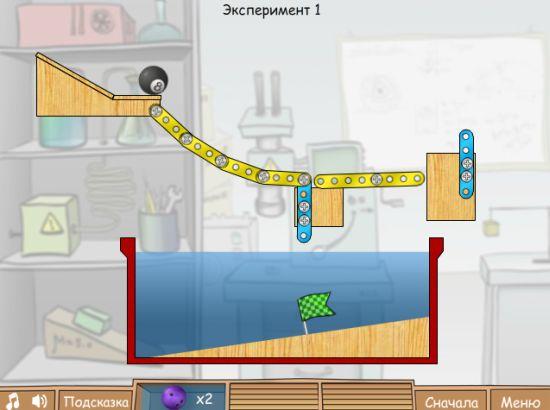 Игра: Нужно загнать бильярдный шар к флагу используя другие шары