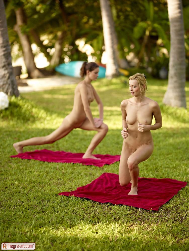 Nude outdoor yoga babes — 13