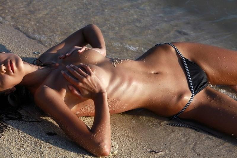 Sheer cross topless swimswuit
