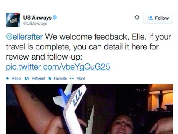 авиакомпания us airways ответила на жалобу порно снимком