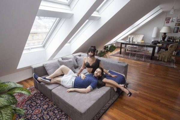 Кончита Вурст и ее муж Жак Патриак: домашняя фотоссесия