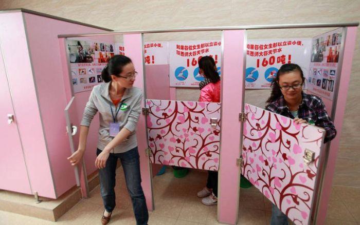 В китайском университете установили женские писсуары с целью экономия воды