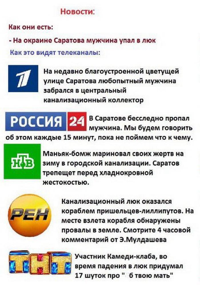 Заголовки новостей на телевизионных каналах