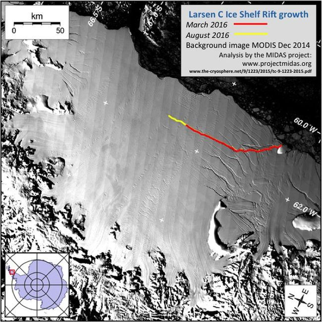 От ледника в Антарктиде откололось 5800 квадратных километров льда
