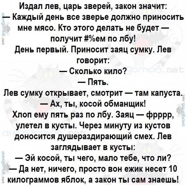 Анекдот Про Львов И Зайца