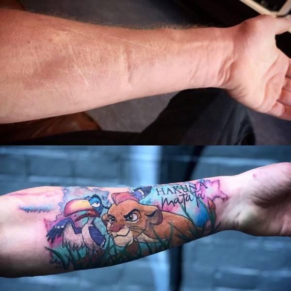 Татуировки, скрывающие изъяны на теле