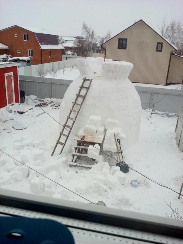 Гигантский снеговик своими руками всячина