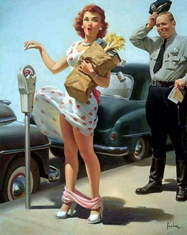 Картины с девушками в стиле пин-ап, на которых изображена одна повторяющаяся и пикантная деталь