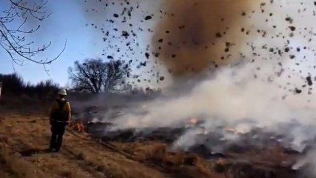 Удивительная аномалия при тушении горящей травы