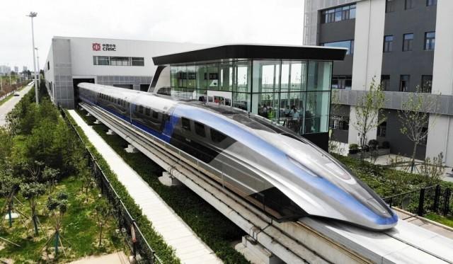 В Китае представили поезд на магнитной подушке, который разгоняется до 600 км/час evergreen,Видео